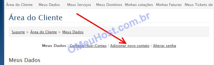 Área de cliente adicionar novo contato